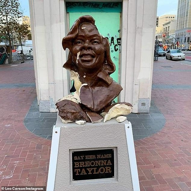 A ceramic bust of slain EMT Breonna Taylor was vandalized in Saturday, just two weeks after it was erected near Oakland's City Hall