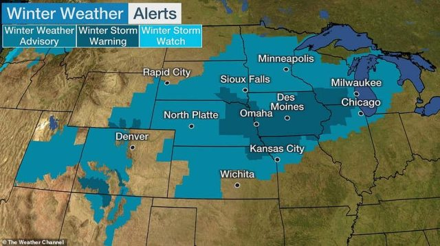 The National Weather Service issued winter storm warnings for parts of Nebraska, Iowa, Kansas, Missouri, South Dakota, Wisconsin and Illinois