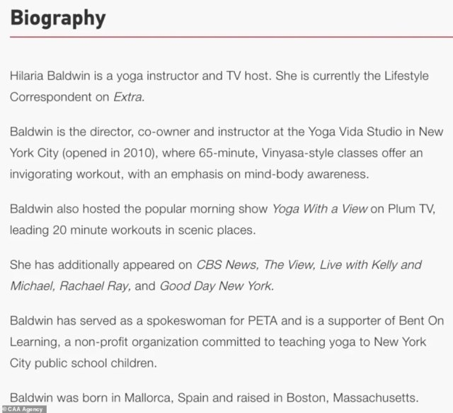 Hilaria's official agency biography was edited to remove any mention of her links to Spain. The biography is shown above before the last line was deleted
