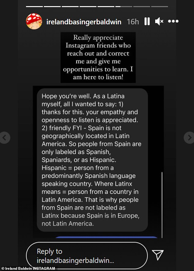 'I am here to listen!' Baldwin posted a screenshot she received from a follower who corrected her on how to use the term Latinx