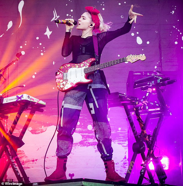 Coming soon: On Monday, Grimes announced that she will be releasing a remixed version of her latest recordMiss Anthropocene on New Year's Day; she is seen performing in 2016