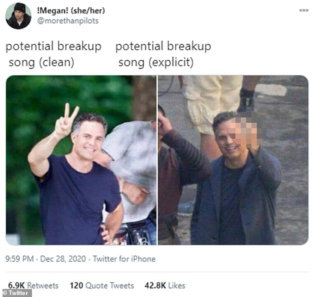 Nice:One meme created by Twitter user @morethanpilots showed a smiling Mark Ruffalo flashing a peace sign and 'potential breakup song (clean)'