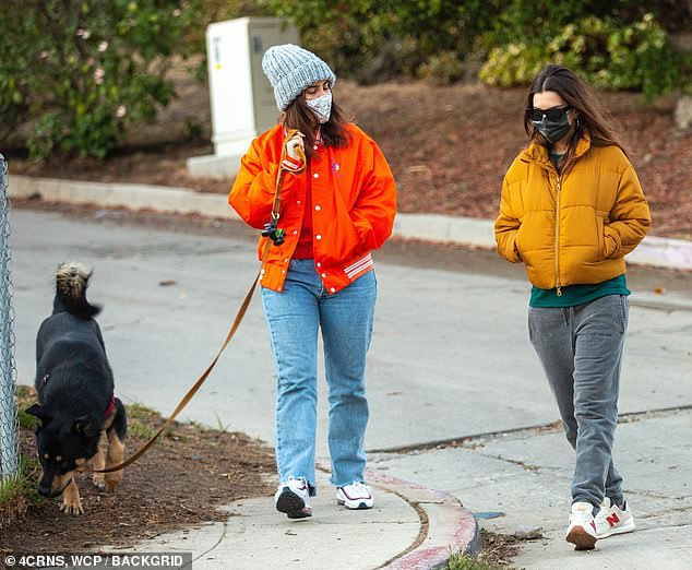Emily Ratajkoswki covers baby bump with orange quilted jacket and gray sweatpants on walk in LA