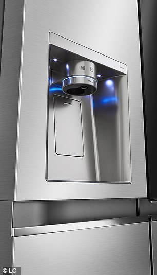 LG have yet to reveal when the new InstaView fridge models will be availably commercially — nor how much buying the appliances will set consumers back. Pictured, the refrigerator's water dispenser with UVnano sanitisation tech (pictured) and the InstaView window