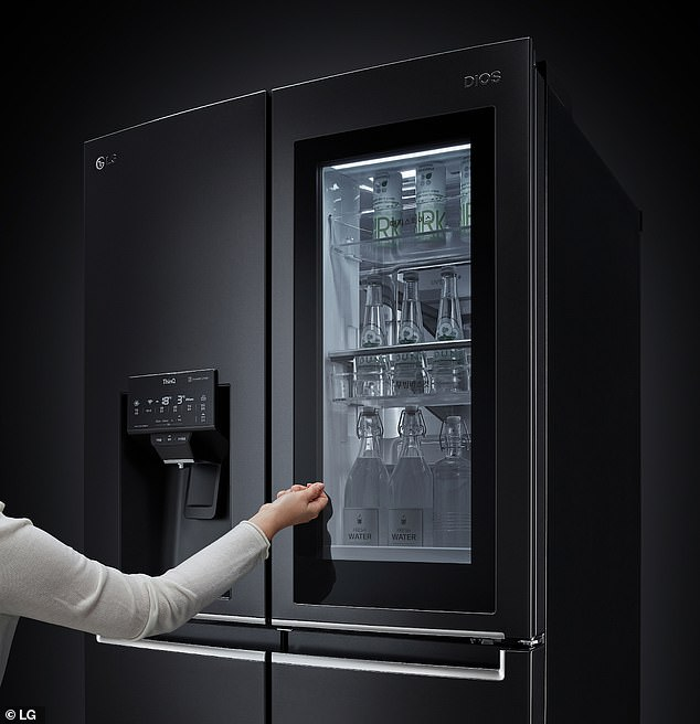 The titular InstaView feature allows the contents of the fridge to be seen with just two knocks to the front-facing window, a prompt which illuminates the inside, as pictured