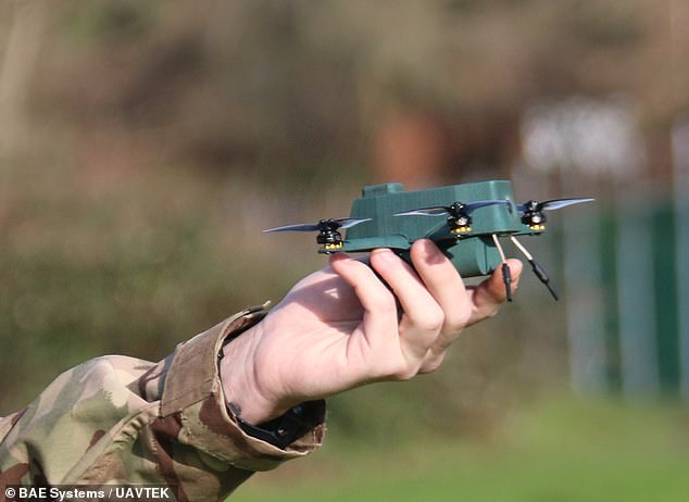 Developed by the British defence firms BAE Systems and UAVTEK, 'The Bug' is a fist-sized robot (pictured) weighing just 6.7 ounces (191g) — roughly the same as a smart phone
