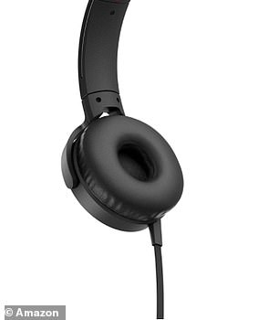 The Sony headphones feature soft cushioned earpads