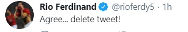 Many - including Rio Ferdinand (above) criticised Leeds for calling out on Carney on Twitter