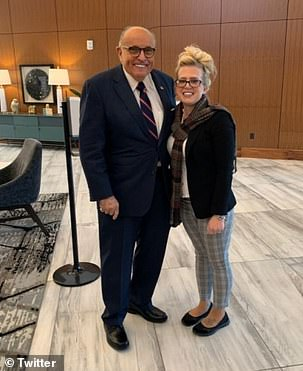 Rudy Giuliani's witness Melissa Carone (pictured together) slammed Dominion Voting Systems for threatening her with a defamation suit over election fraud claims