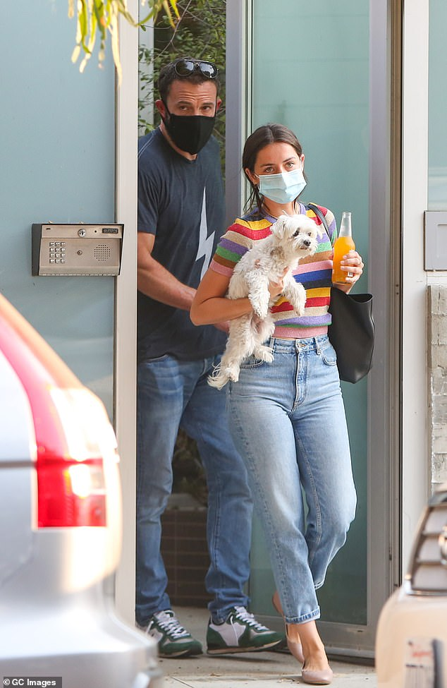 Loved-up couple: The actor has been spending plenty of time with his girlfriend Ana de Armas since the two returned from reshoots on their film Deep Water in November; seen in August