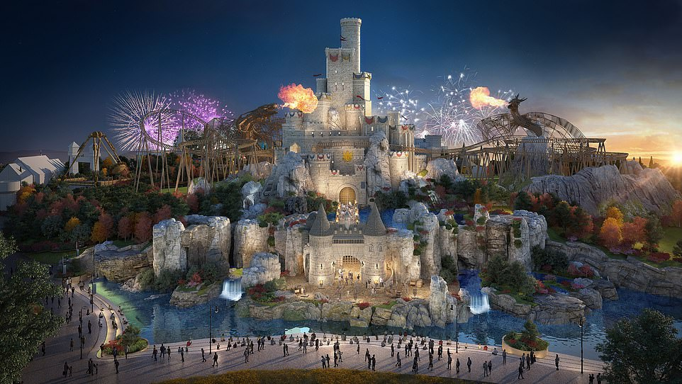 A previous rendering shows how the resort's Kingdom zone could be home to an impressive medieval-inspired castle