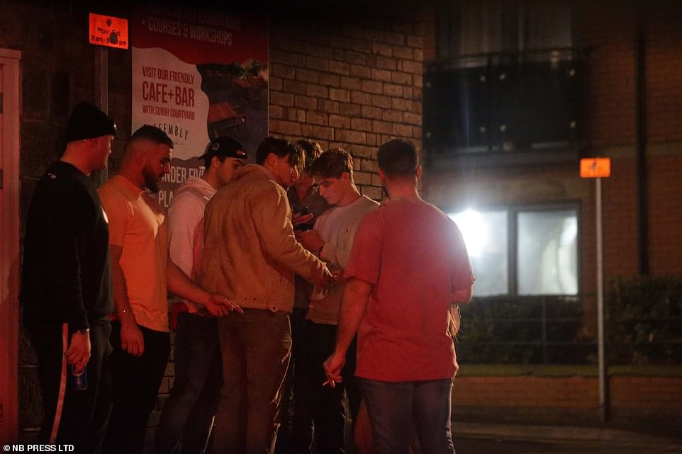 Groups of young men were seen gathering on the streets of Leeds last night as the city remained in Tier 3 lockdown meaures