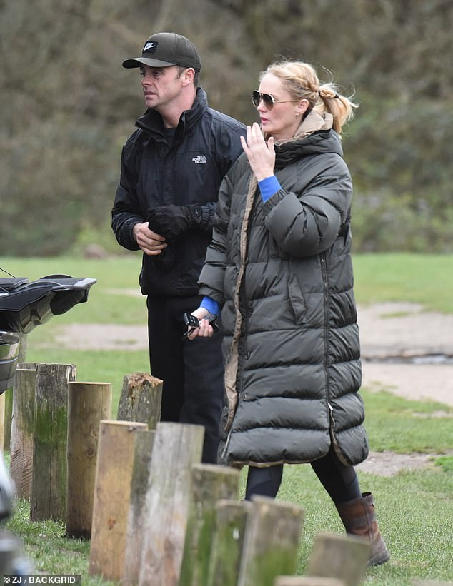 How exciting: Ant has reportedly been planning to propose for some time, wanting to make sure the event was perfect and even asking for blessing from her family (pictured in March)