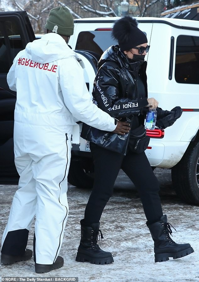 Family affair: Kendall and Kylie's mother Kris Jenner and her boyfriend Corey Gamble were also spotted joining Kylie and Kendall to shop at the Ralph Lauren store