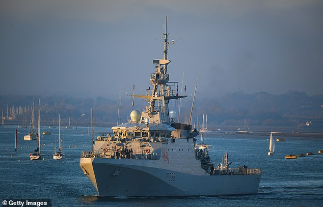 Four Naval ships, including HMS Tamar (pictured leaving Portsmouth on New Year's Eve), were sent into the English Channel to put a stop to illegal fishing on UK fishing grounds hours before the terms of the new Brexit trade deal came into force