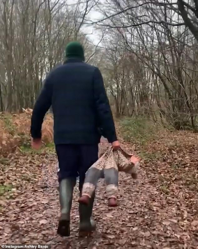 New year walk:Ashley Banjo shared a hilarious insight into fatherhood on Friday as he posted a video while carrying his daughter like a rag doll