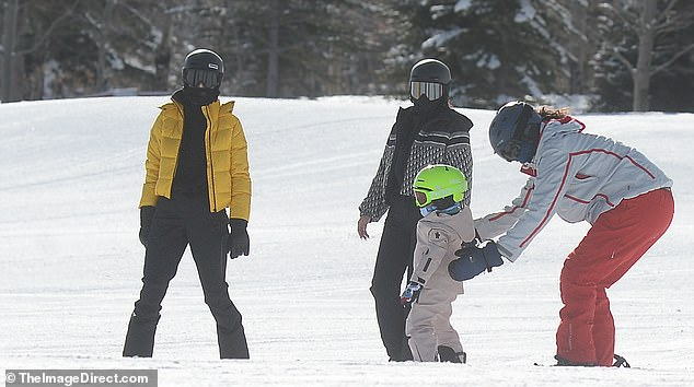 Patience! Stormi was seen learning to balance on her snowboard with help from an instructor who gave her a private lesson