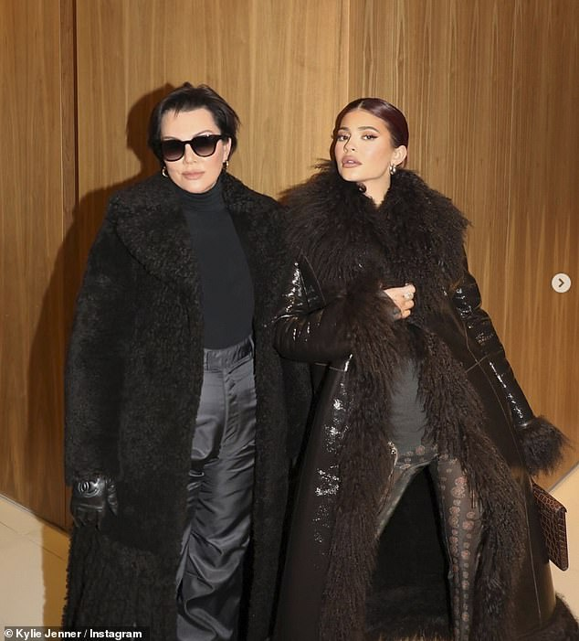 Got it from my mama: Kylie and Kris posed in shearling jackets as they showed off their Aspen fashion