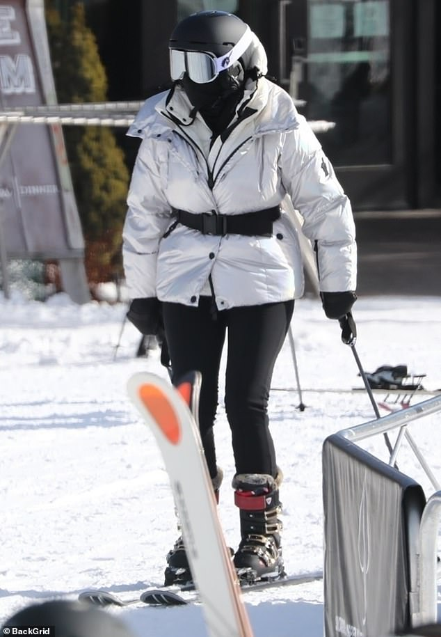 Snowbunny: Kris opted to spend the day on skis while daughters Kendall and Kylie worked their magic while snowboarding