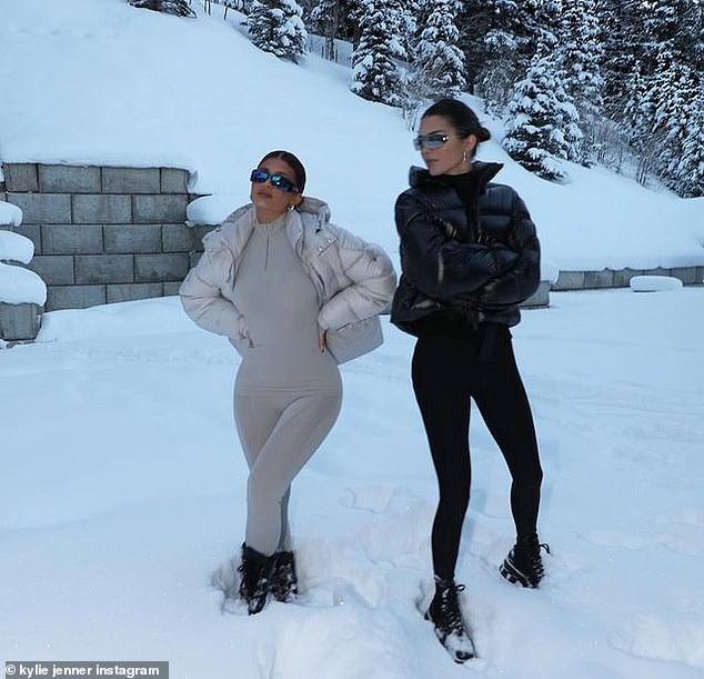 Snow chic: The sisters have taken a liking to their cold weather attire as they posed in the snow in opposite colored body suits