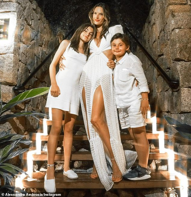 Her loves:Joined by her children, daughter Anja, 12, and son Noah eight, Alessandra and her entire family dressed in white and rang in 2021 with a spectacular firework show