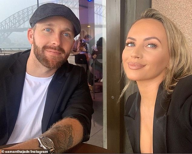 Date night! Samantha Jade (right) and her fiancé Pat Handlin (left) enjoyed a drink together at a Darling Harbour bar and a magic show at Sydney's Opera House on Saturday
