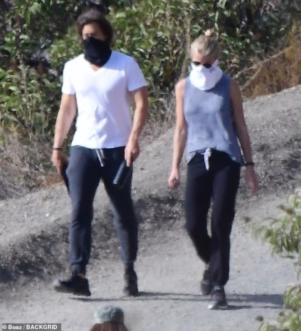 Different ways: Gwyneth Paltrow (48) and her husband Brad Falchuk (rad 49) had a spectacular hike on Saturday before heading alone to a range in the Santa Monica Mountains.