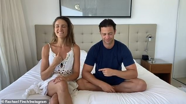 Sweet:As Rachael and Michael sat on their bed, the 32-year-old model giggled as her sister fired off sweet questions.Those questions included, 'Who initiated the first kiss' and Rachael pointed to herself to indicate it was her