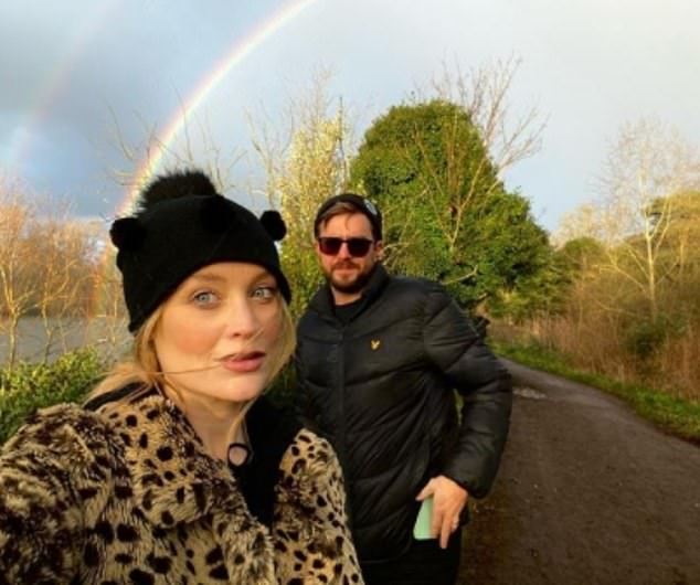 Sunday strolling: It was revealed in November that the presenter and comedian had secretly married in Dublin and they announced they were expecting a baby in December
