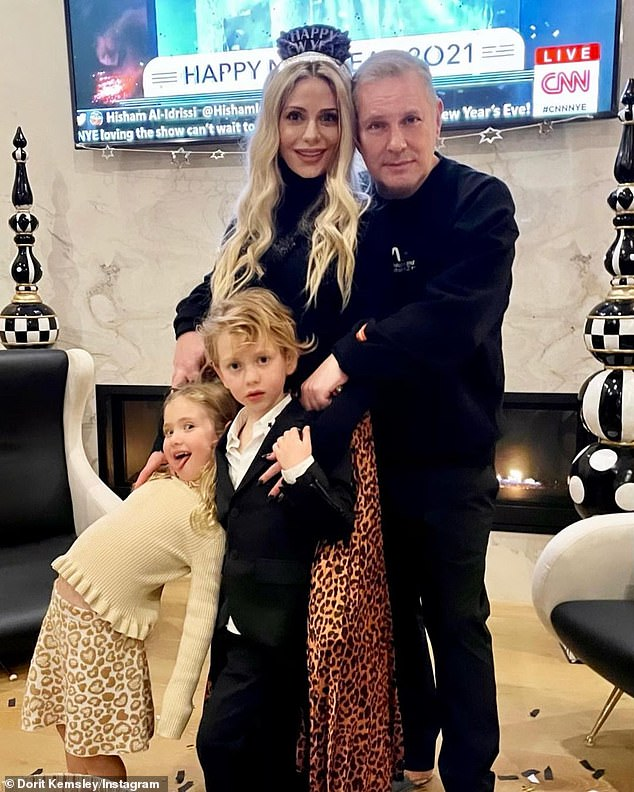 NYE family portrait: Next month, Kemsley and the 53-year-old Nixxi Entertainment CEO will celebrate the seventh birthday of their son Jagger and fifth birthday of their daughter Phoenix - followed by their sixth wedding anniversary in March