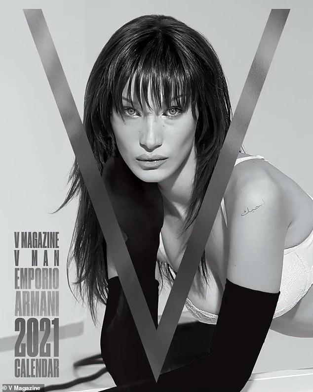 Cover girl: Bella also rang in 2021 with V Magazine , covering their advent calendar in Emporio Armani and some chic bangs