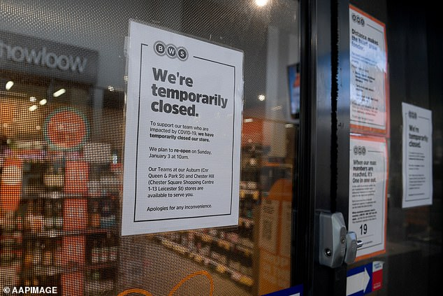 The BWS Berala store was temporarily closed until January 3, with signs posted on the front door informing customers of the closure
