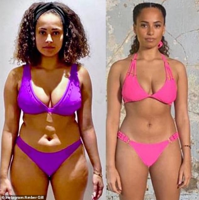 Hard work: It comes after Amber revealed her incredible body transformation (right) after losing one stone in just six weeks on Saturday (pictured left before weight loss)