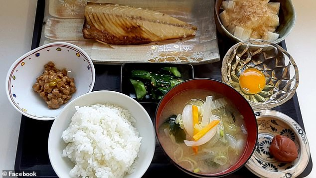 A chef has revealed a typical meal his Japanese grandmother eats every morning for breakfast - complete with fish, rice, miso soup, pickled vegetables, a raw egg  and tofu with bonito flakes