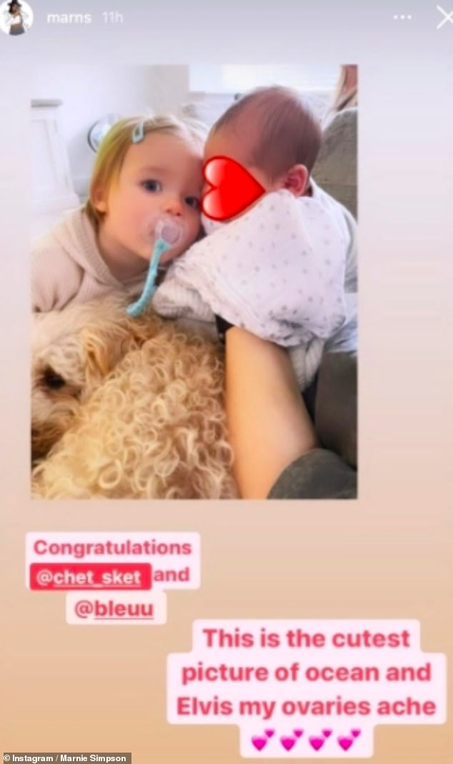 'Cutest picture': The former Geordie Shore star, 28, quickly deleted the image, which revealed more of the tot than his parents have yet to share, from Stories