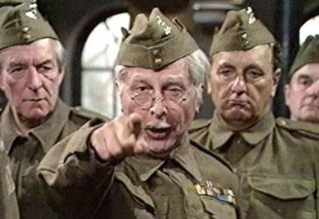 The BBC has slapped a 'discriminatory language' warning on the 1971 Dad's Army film (pictured)