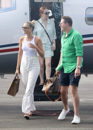 Laura Dundovic arrives in Brisbane on a private jet from Hamilton Island