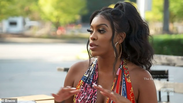 Hanging out: Porsha had no idea about the party and gabbed with Marlo Hampton, 44, and Tanya Sam about separating from her fiancé Dennis McKinley, 44,