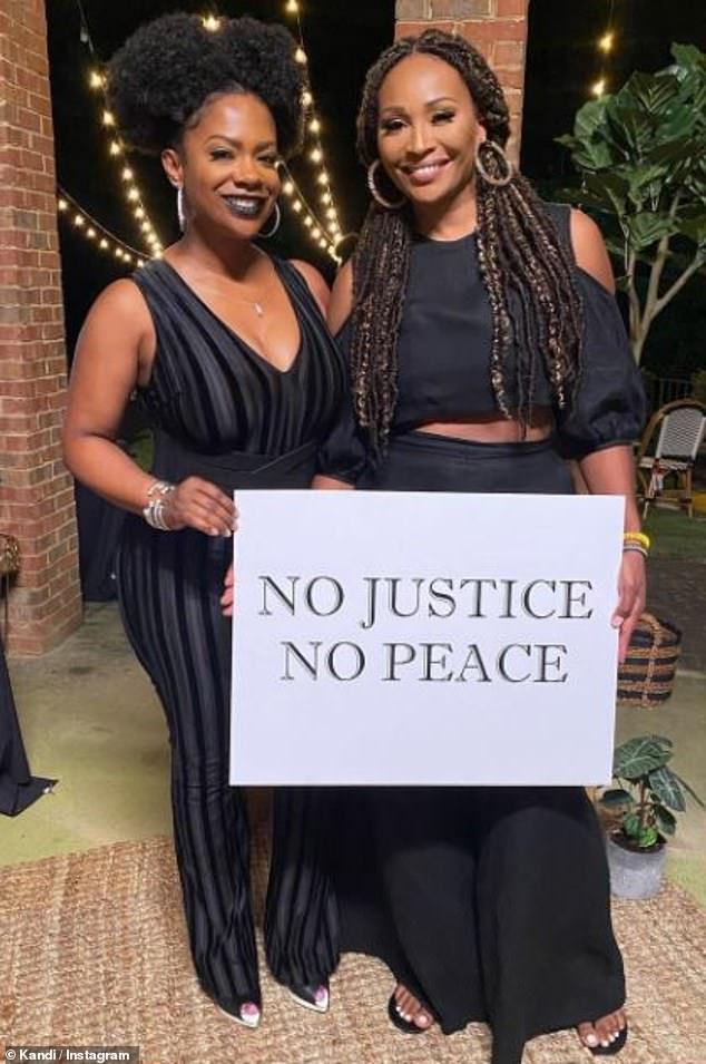 Say her name: Kandi Burruss wore black in honor of Breonna Taylor, as she joined pal Cynthia Bailey at the surprise party, taking to Instagram Sunday with some photos from the event, which took place over the summer