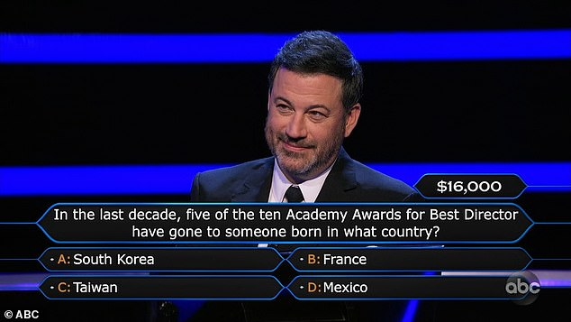 Oscar host:Rebel then sailed through a $8,000 question about the creation of Stonehenge, but asked Jimmy for help on a $16,000 question about the Academy Awards
