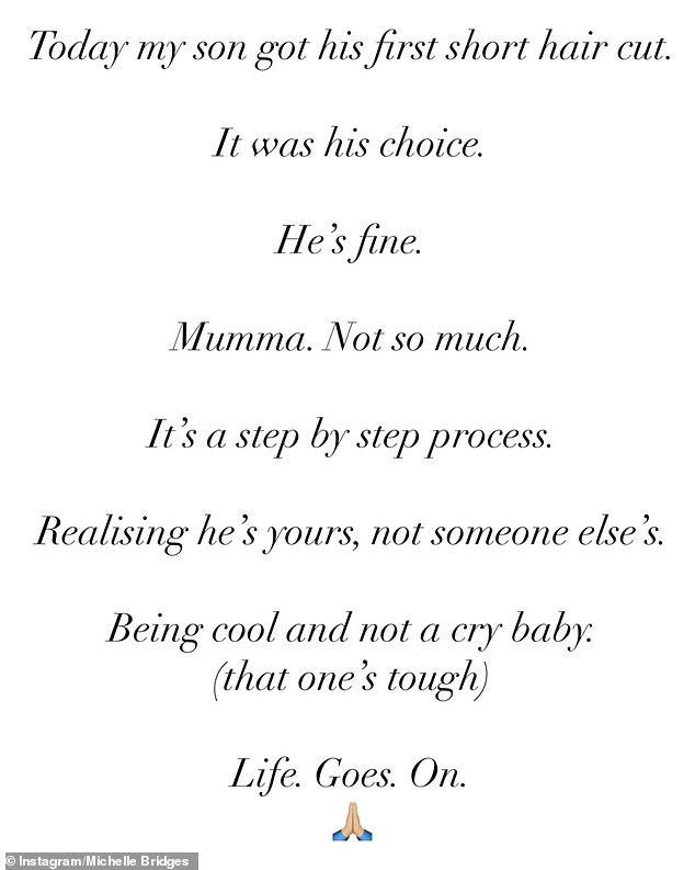 The media personality penned:'It's a step-by-step process. Realising he's yours, not someone else's. Being cool and not a cry baby (that one's tough). Life goes on'