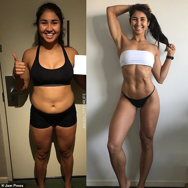 'I tried everything from Keto to detox teas to low carb to low-fat diets. Nothing worked long-term and I ended up struggling to get any results,' Anjuli explained