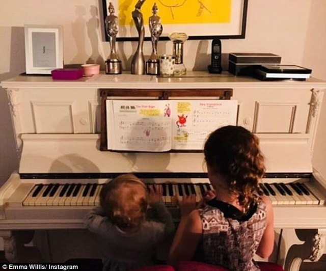 Family abode:Two years ago, Voice host Emma gave fans a glimpse of her lavish family home with Instagram snaps including a large kitchen island unit, bright green sofa, leopard print cushions and a white piano