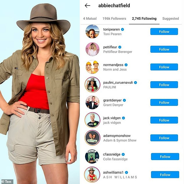Interesting: The influencer followed her co-stars on Instagram following the show's premiere episode on Sunday, and also followed rumoured intruders, celebrity chef Colin Fassnidge and Real Housewife star Pettifleur Berenger
