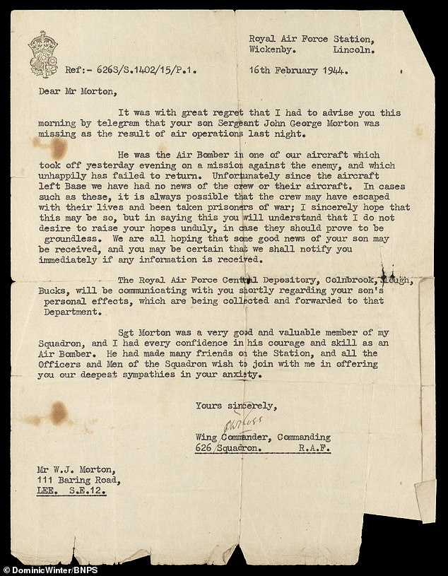 Sgt Morton survived the marches but was so starved he spent a month in hospital in Britain upon his return home at the end of the war. Pictured: The letter sent to Leading Aircraftsman John Morton's family informing them that he was missing