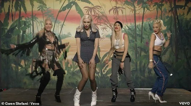 Through the years: Gwen's characters interacted with each other during the music video