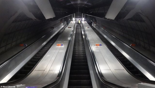 An empty set of escalators at London Waterloo station on the London Underground today as tier four remains in place