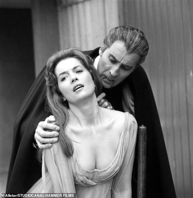 Barbara Shelley and Christopher Lee in the classic Dracula: Prince of Darkness