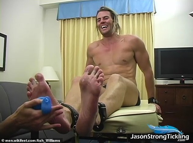 No squirming!In that video, the shirtless hunk is strapped to a table, with leather restraints around his ankles, as an unknown person tickles the soles of his feet