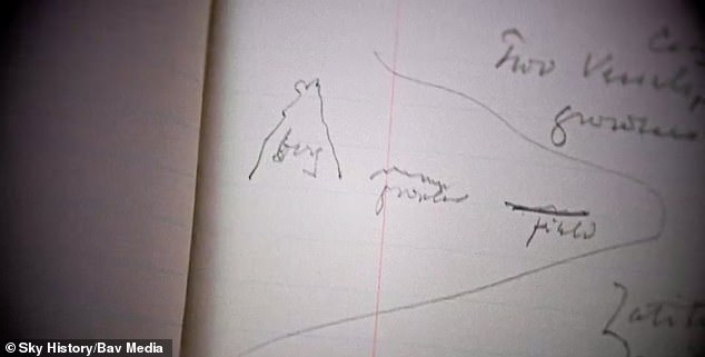 He has also included drawings of diagrams writing that two vessels warned of 'icebergs, growlers and flows'